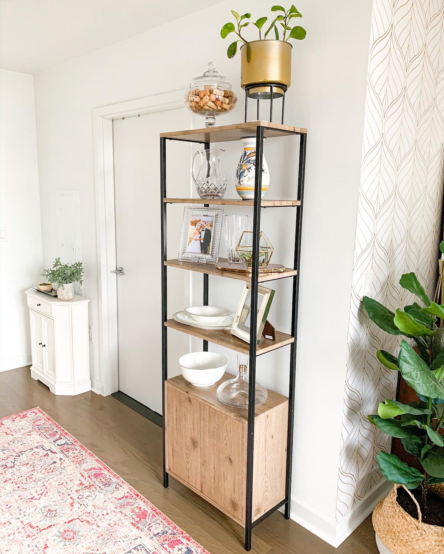 Entryway Bookcase Decor and Organization