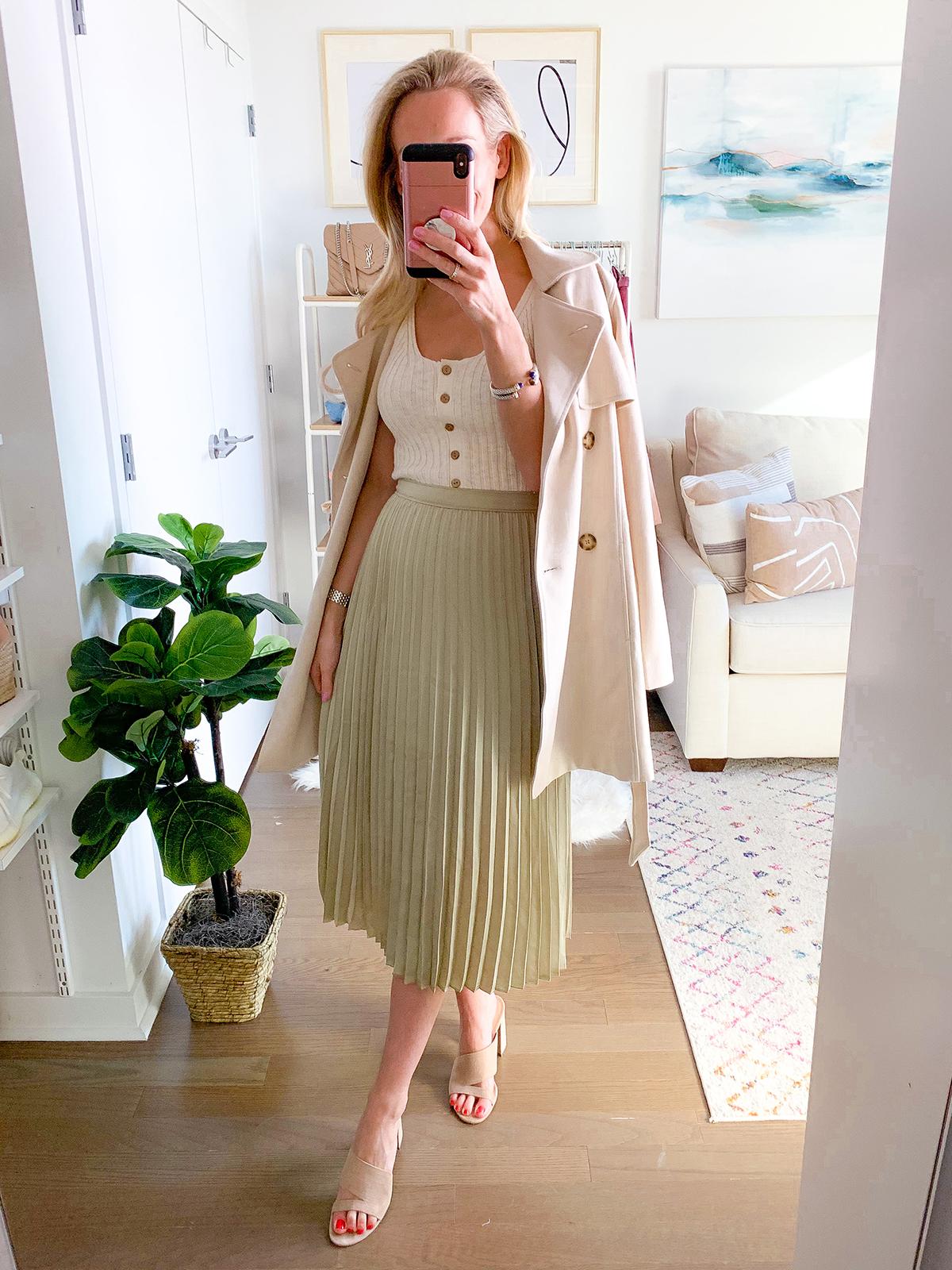 Abercrombie Green Pleated Midi Skirt