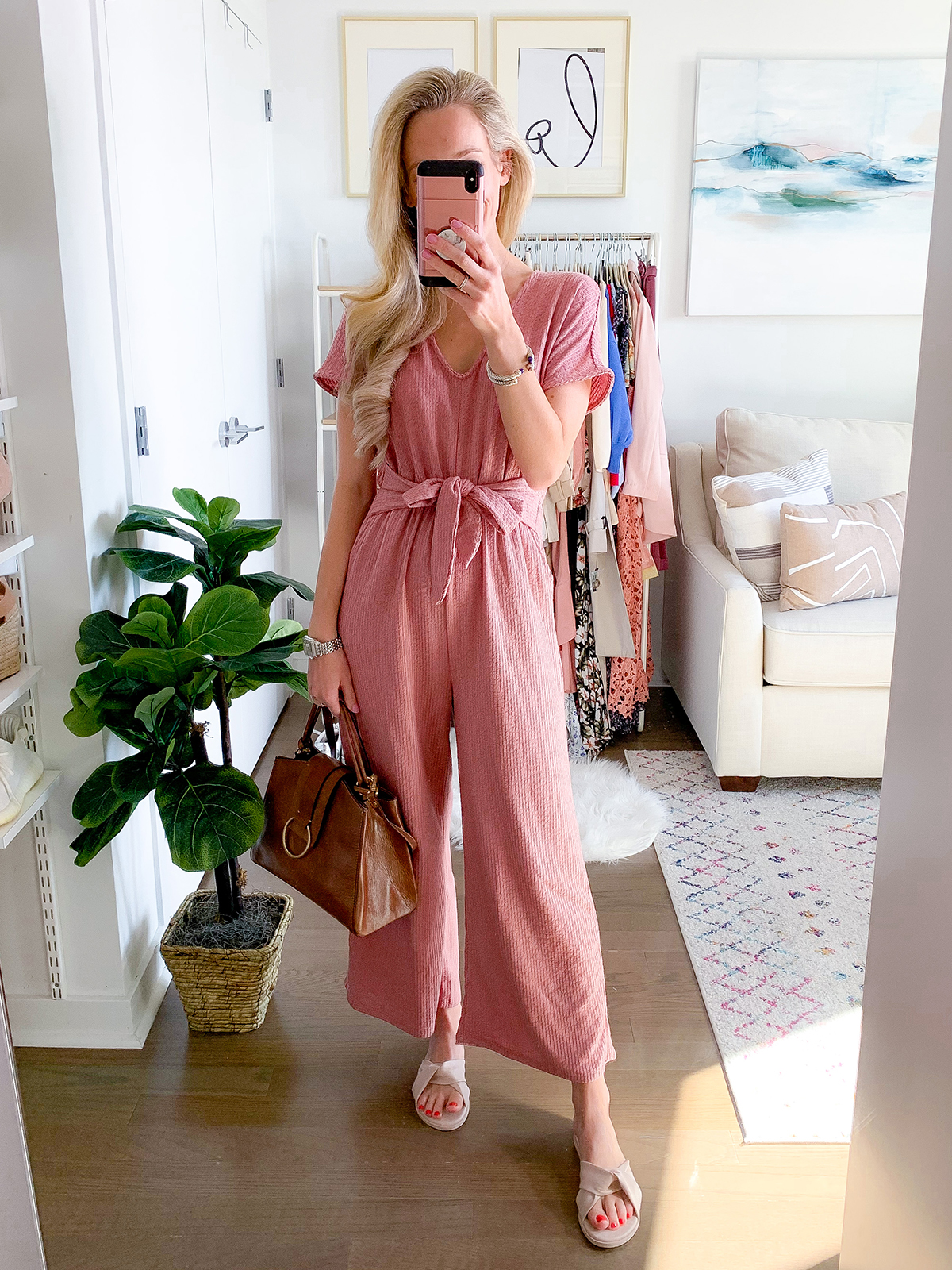 Anthropologie Pink Jumpsuit