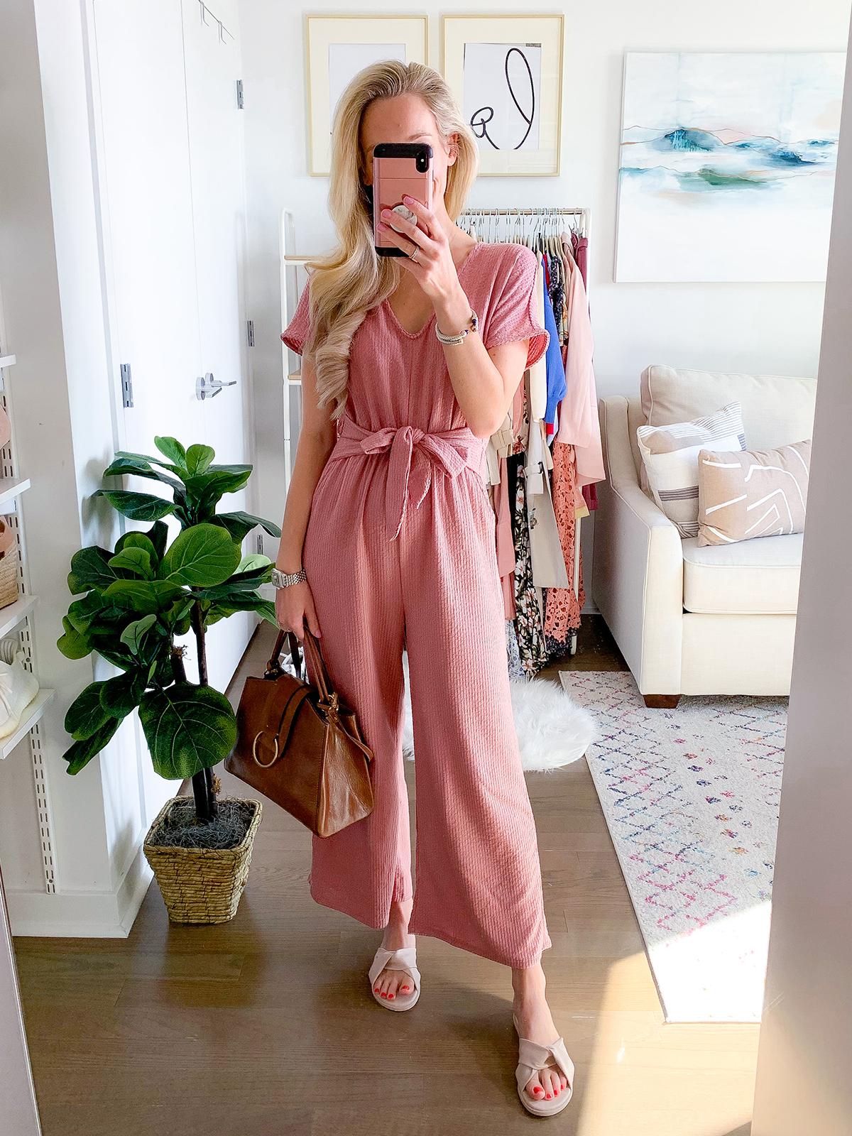 Anthropologie Pink Jumpsuit