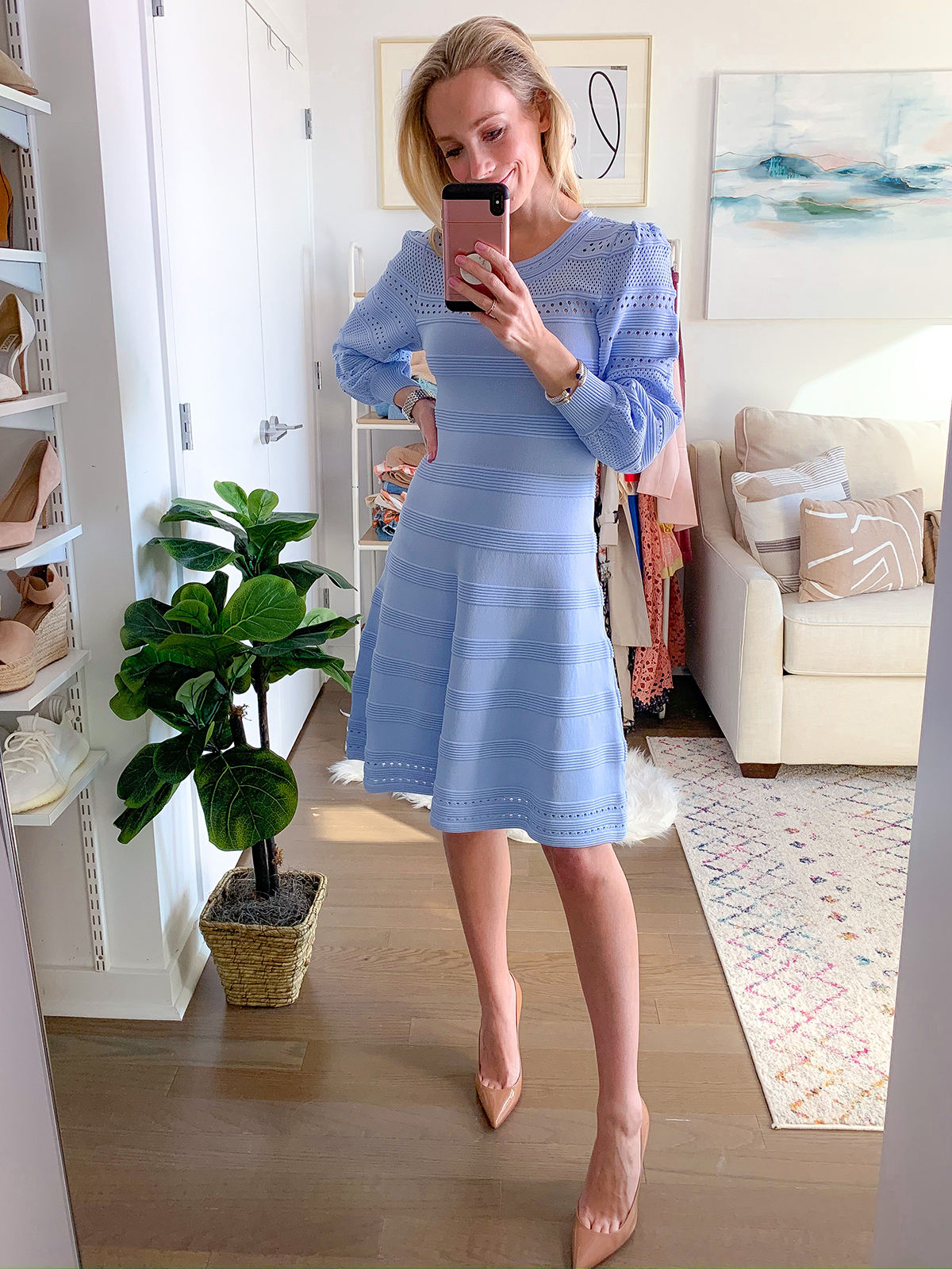 Blue Knit Sweater Dress