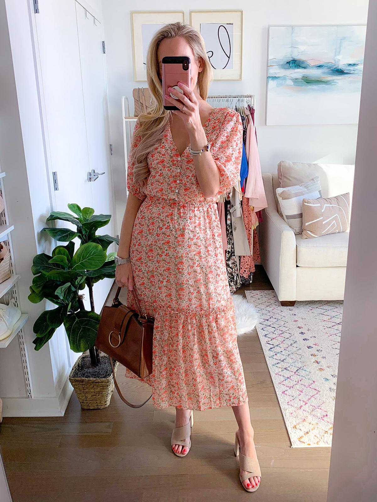 Pink Floral Maxi Dress