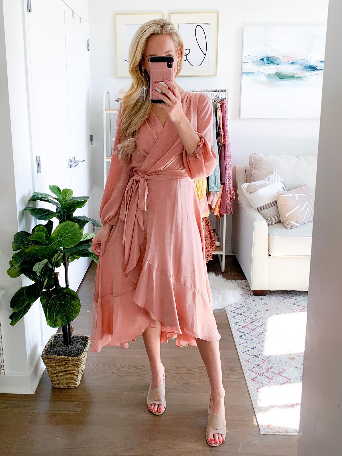 Pink Midi Ruffle Wrap Dress