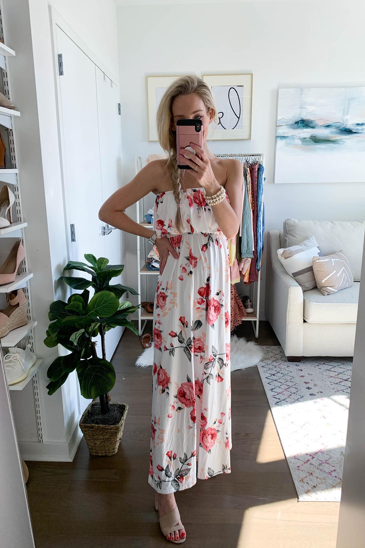 Strapless Floral Print Maxi Dress
