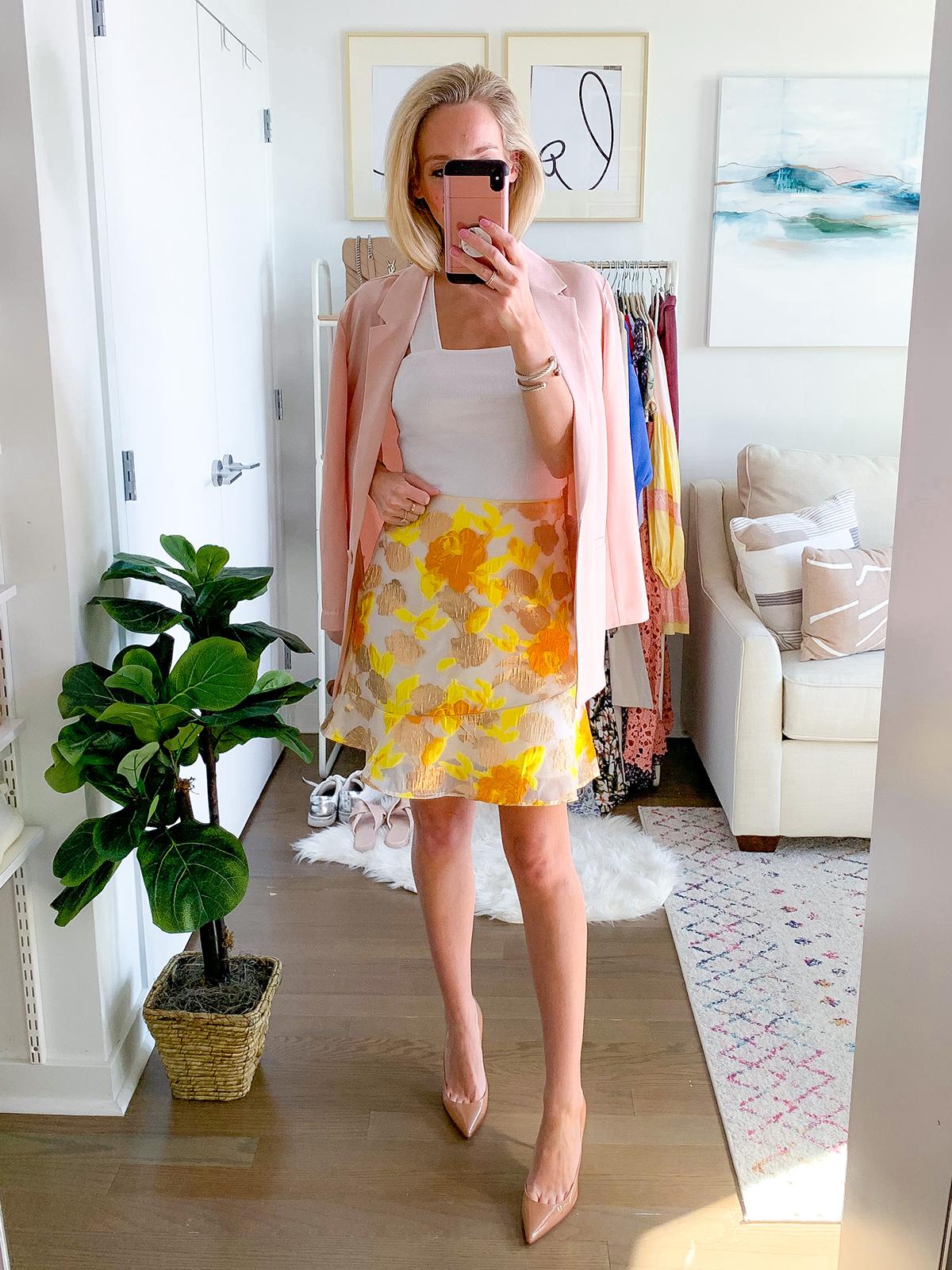 Yellow Floral Mini Skirt
