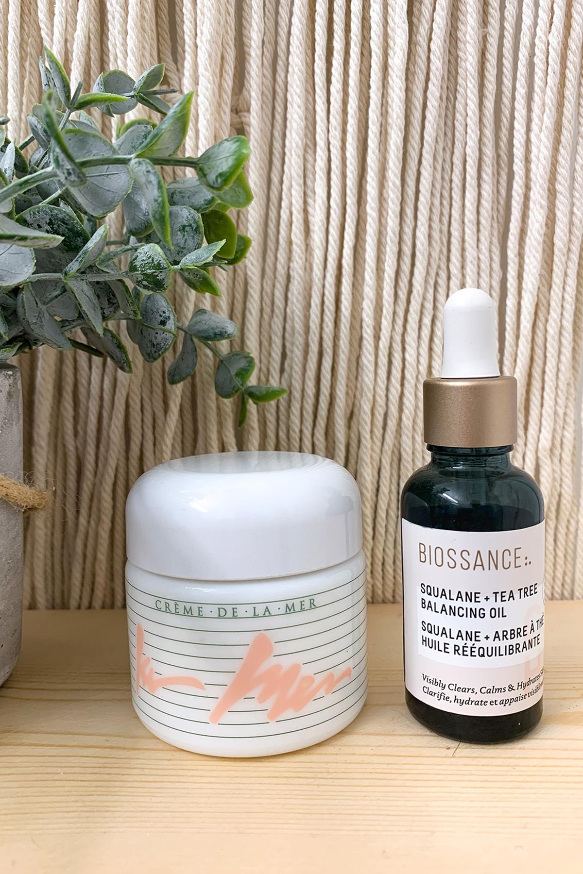 BIOSSANCE Squalane + Tea Tree Balancing Oil and LA MER Crème de la Mer Moisturizer
