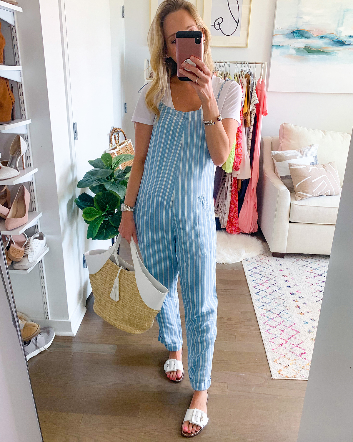 Revolve Blue Stripe Overall Jumpsuit
