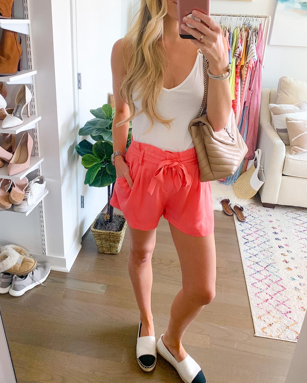 Revolve Bobi Black Coral Twill Shorts