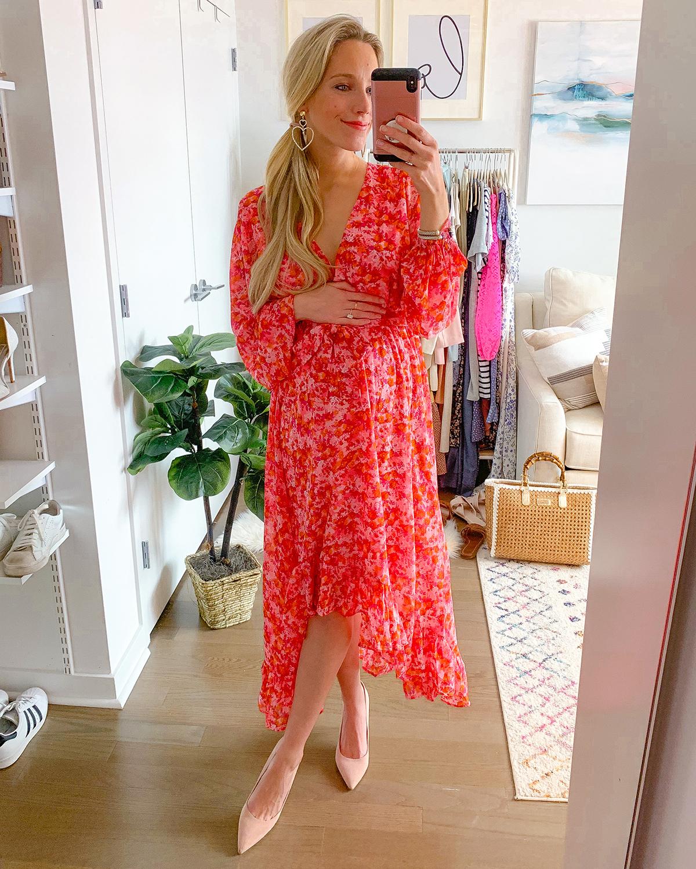 Vero Moda Anneline Long Sleeve High:Low Faux Wrap Dress