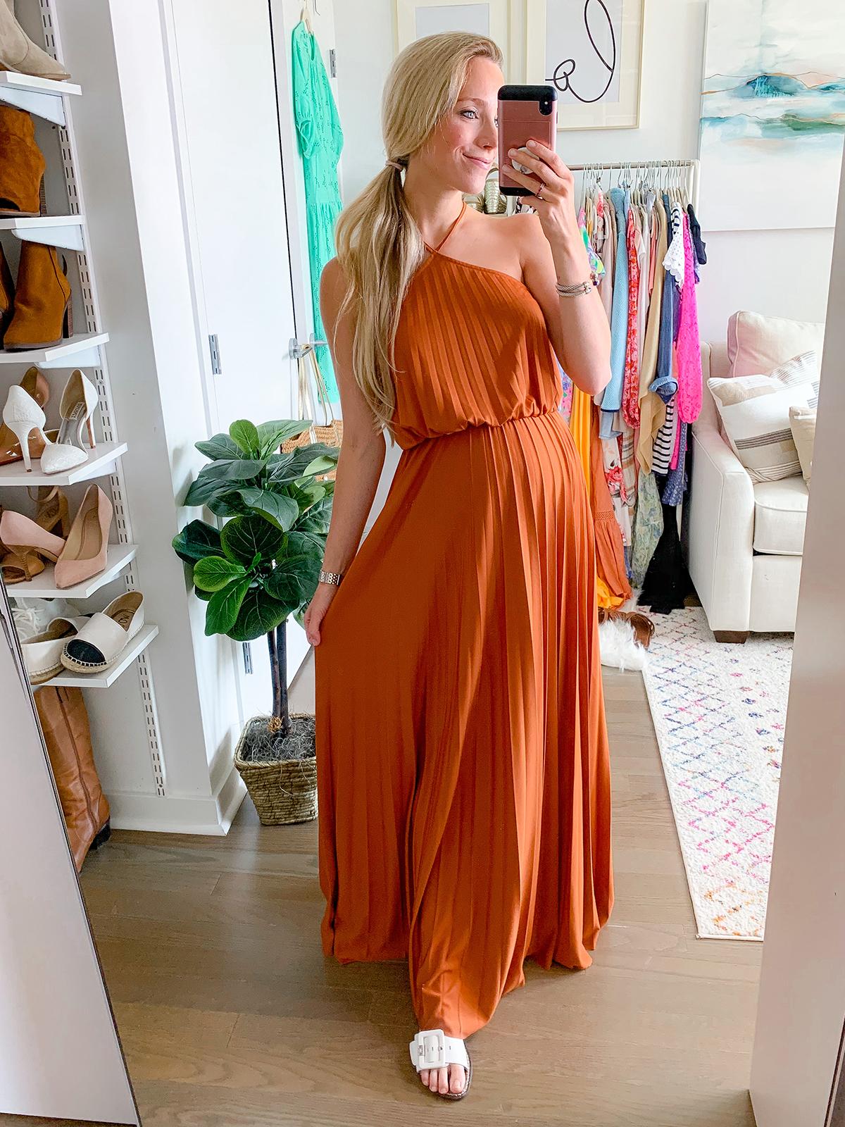 ASOS DESIGN halter neck pleated maxi dress