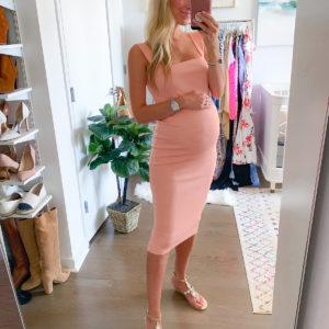 Ribbed Peach Midi Dress