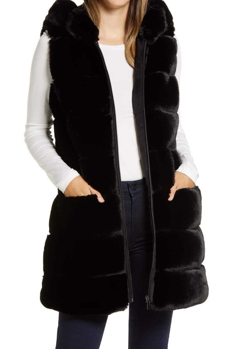 Via Spiga Grooved Faux Fur Hooded Vest