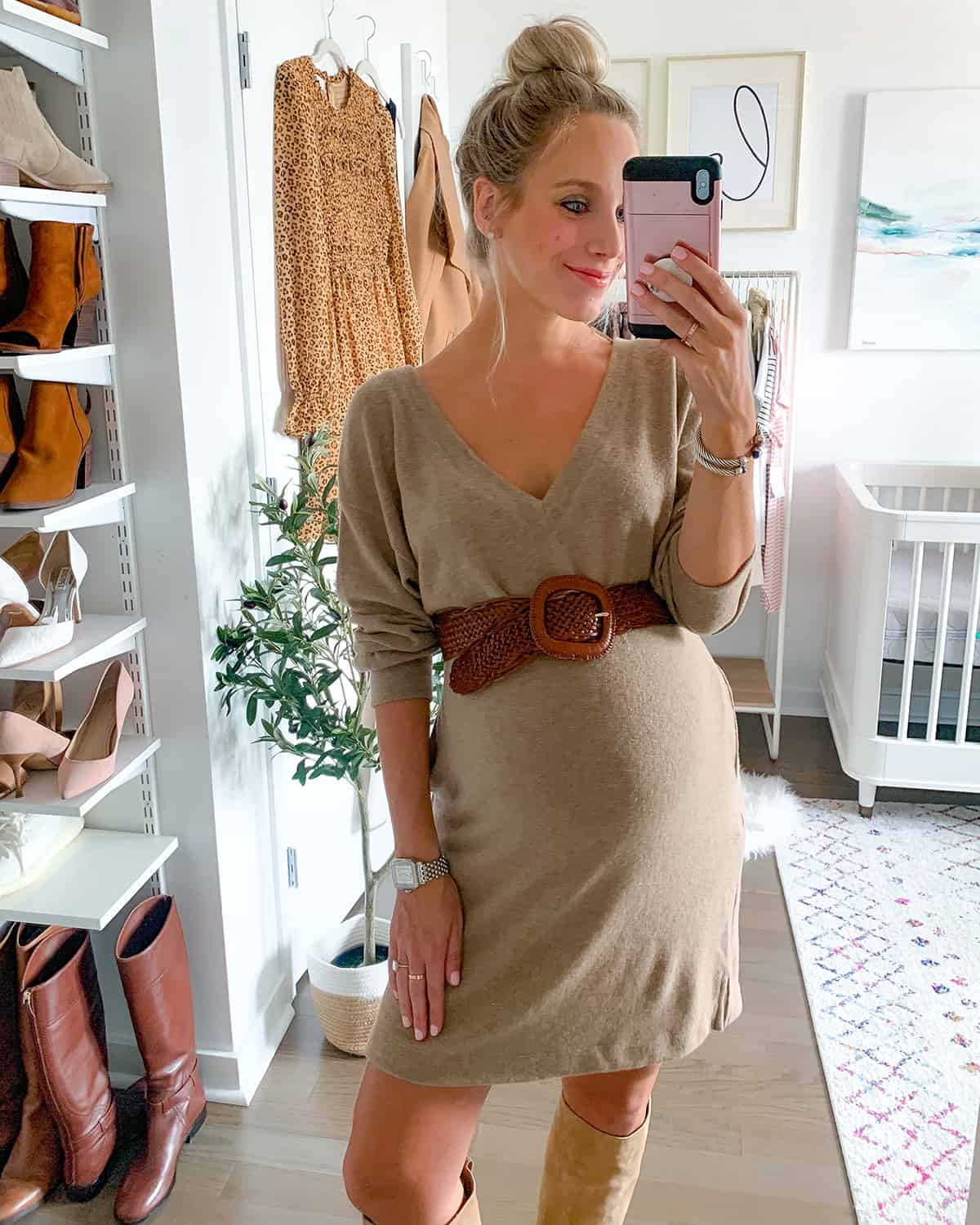Socialite Double-V Long Sleeve Knit Dress