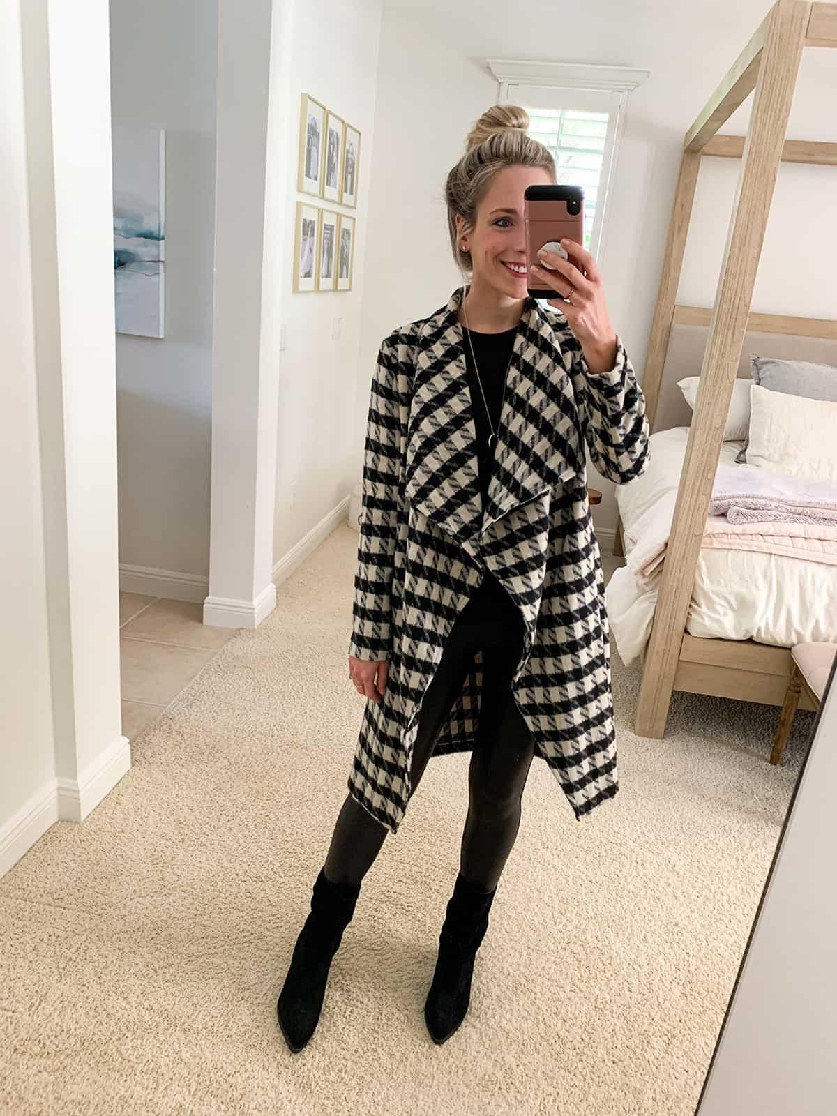 Katies Bliss BB Dakota Houndstooth Drape Coat