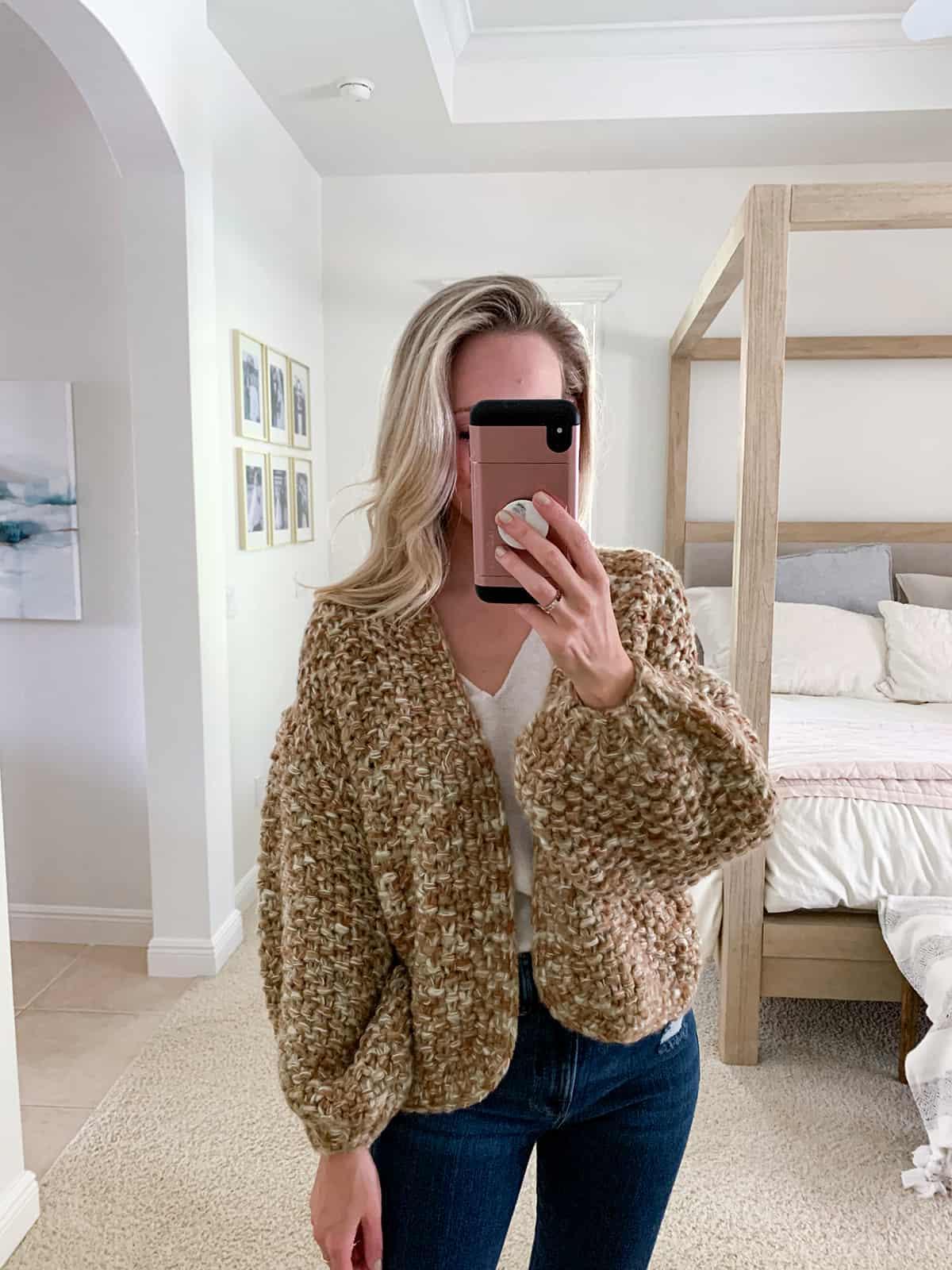 Katies Bliss BLANKNYC Marled Crop Open Front Cardigan