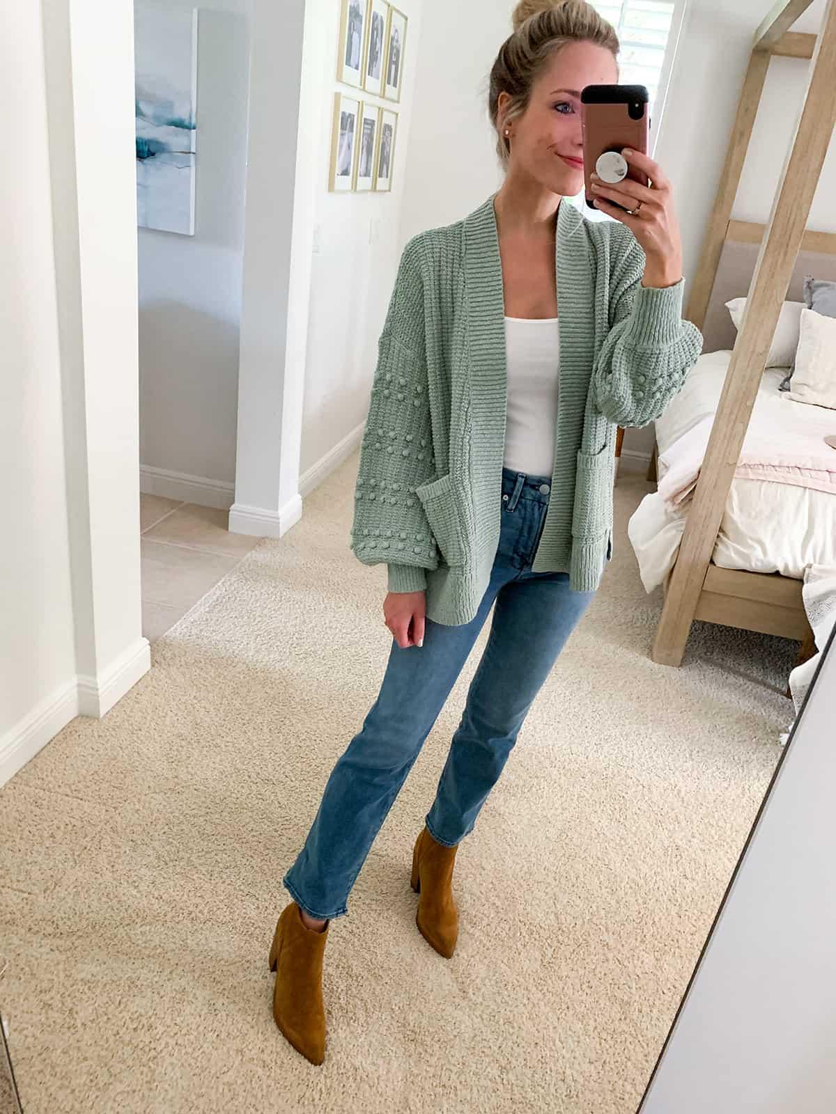 Katies Bliss Madewell Bobble Cardigan Sweater