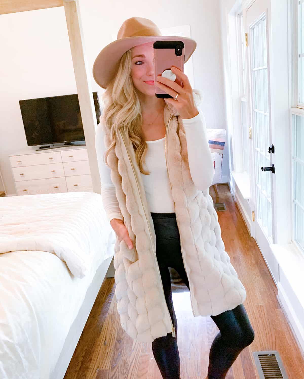 Katies Bliss Chevron Hooded Faux Fur Vest