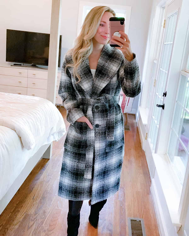 Katies Bliss Halogen Plaid Longline Coat