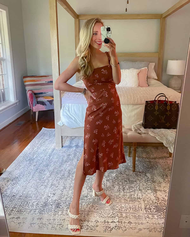 Abercrombie Open Tie-Back Slip Midi Dress